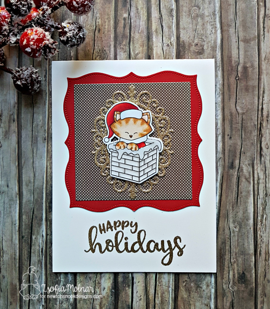Santa Kitty Christmas Card by Zsofia Molnar | Santa Paws Newton stamp set by Newton's Nook Designs #newtonsnook #handmade