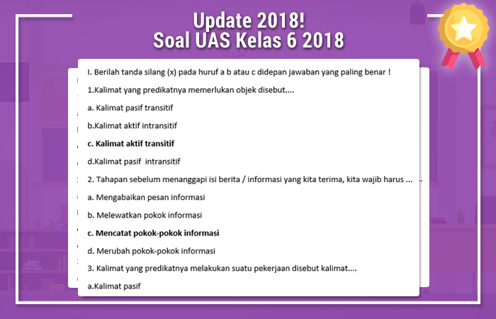 Update Sabtu 07 April 2018 Soal UAS Kelas 6 2018
