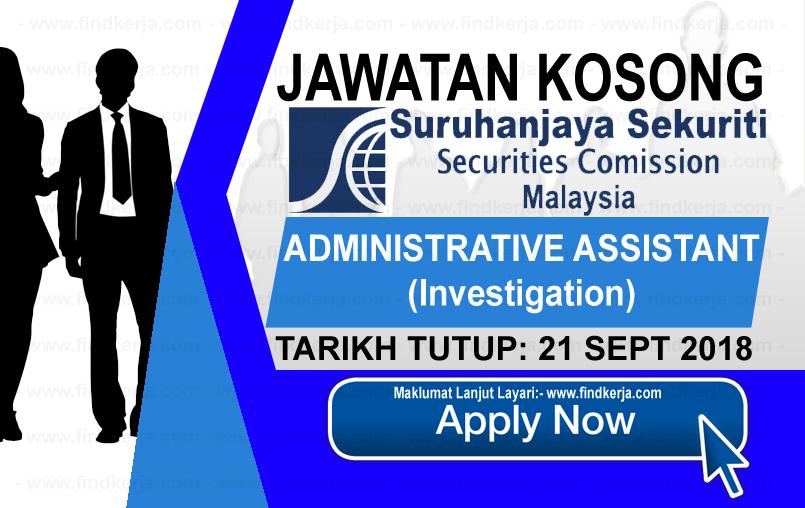 Jawatan Kerja Kosong SC - Suruhanjaya Sekuriti logo www.ohjob.info www.findkerja.com september 2018