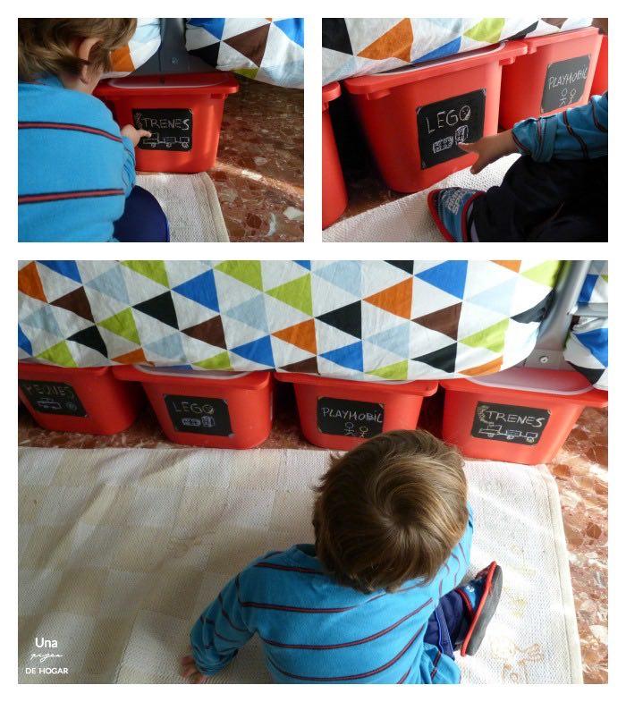 Las cajas de juguetes de debajo de la litera y mi niño
