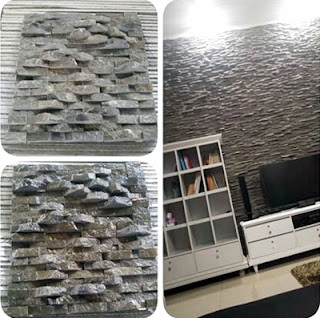 Model Desain Gambar Batu Alam Wall Cladding Andesit 2 cm Teras Templek Dinding Rumah Minimalis