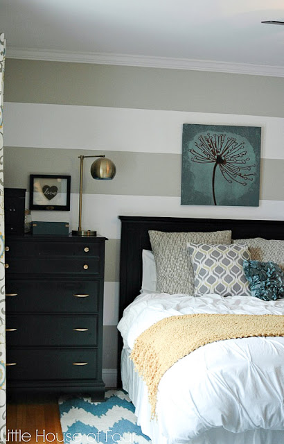 Gray, aqua and yellow master bedroom makeover