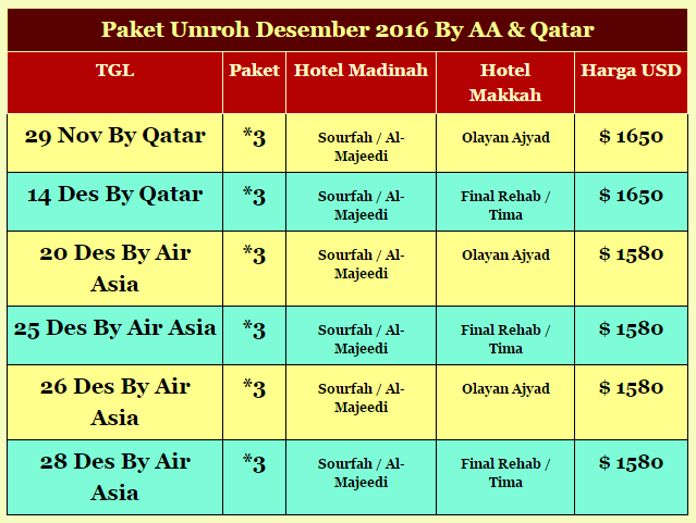 Biaya Umroh 2016 By AA