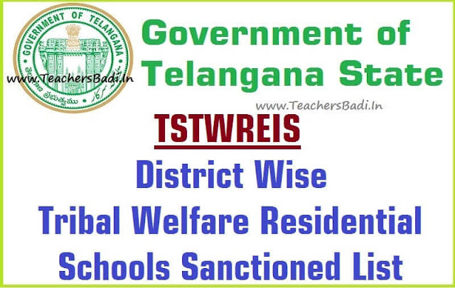 District Wise,Tribal Welfare Residential Schools,Sanctioned List TSTWREIS