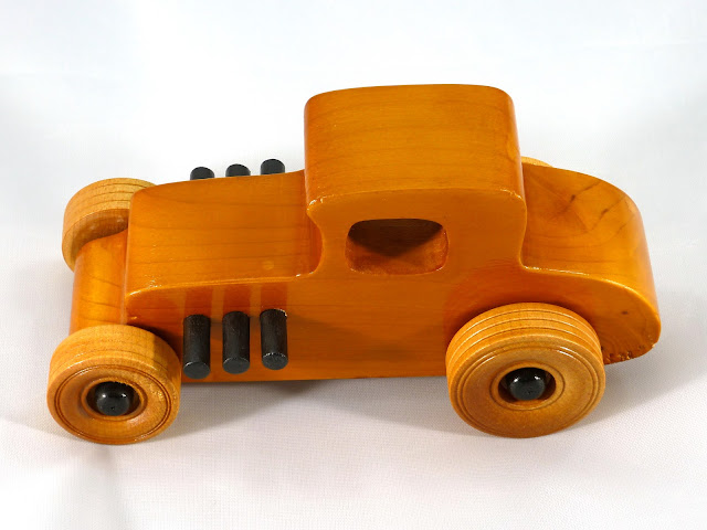 Left Side Top - Wooden Toy Car - Hot Rod Freaky Ford - 27 T Coupe - Pine - Amber Shellac - Black Hubs