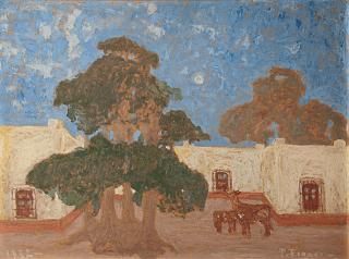 Pedro Figari, cuadro Vieja estancia. En la pintura se muestra un ombú y dos caballos de campo.