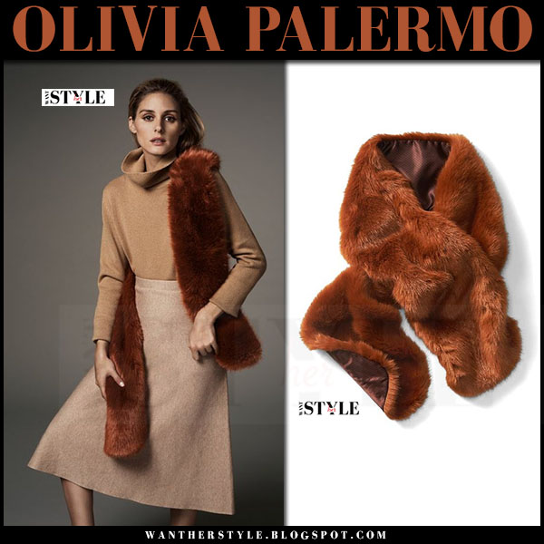 Olivia Palermo in camel turtleneck, camel midi skirt and orange rust faux fur scarf banana republic holiday picks 2016 what she wore