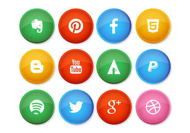 Colorful Social Media Button Style Icons Vector Graphic