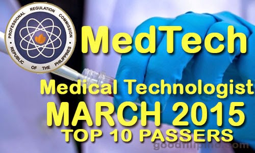 March 2015 Top 10 Medical Technologist (MEDTECH) Board Exam Passers