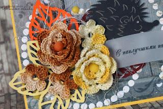 вязанные цветочки скрапбукинг