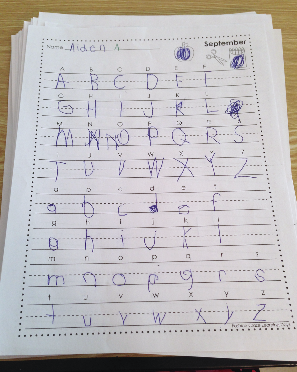 kindergarten handwriting practice