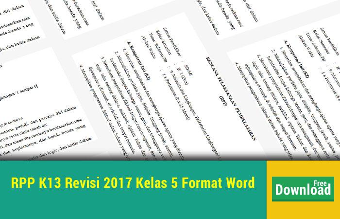 RPP K13 Revisi 2017 Kelas 5