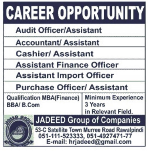 Audit & Accounts Jobs in Jadeed Group of Companies Pakistan