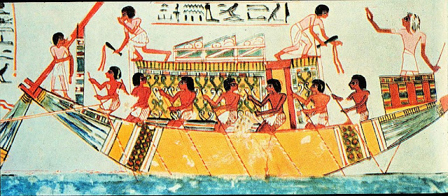 Men in Oar boat, Egyptian tomb painting from 1450 BCE