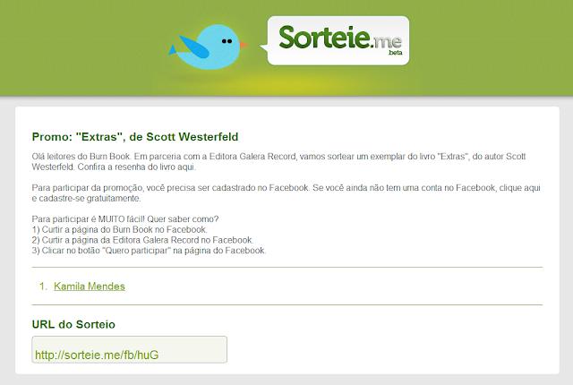"""Confira o resultado da promoção """"Extras"""", de Scott Westerfeld"""". 7"""