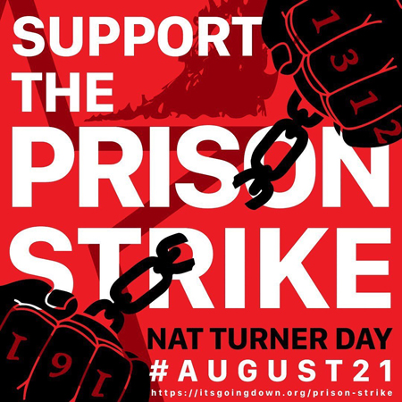 support the prison strike graphic