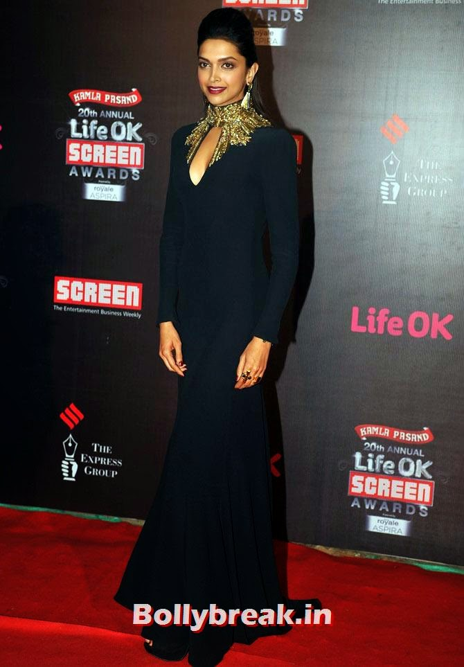 Deepika Padukone, Life Ok Screen Awards 2014 Red Carpet Photos