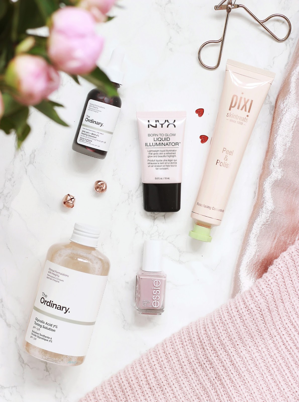 The Ordinary Glycolic Acid, Pixi Peel and Polish, NYX illuminator
