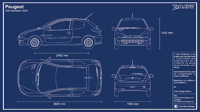 Imagem mostrando o desenho do blueprint Peugeot 206 Quiksilver 2003