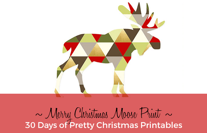 Merry Christmas Moose Print
