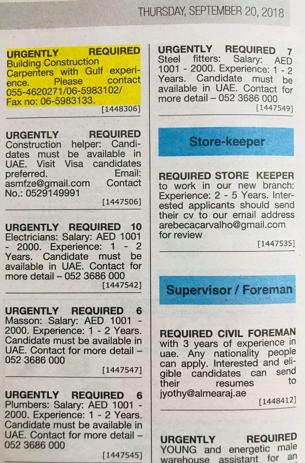 Required Store Keeper, Civil Foreman, Plumber, Electrician