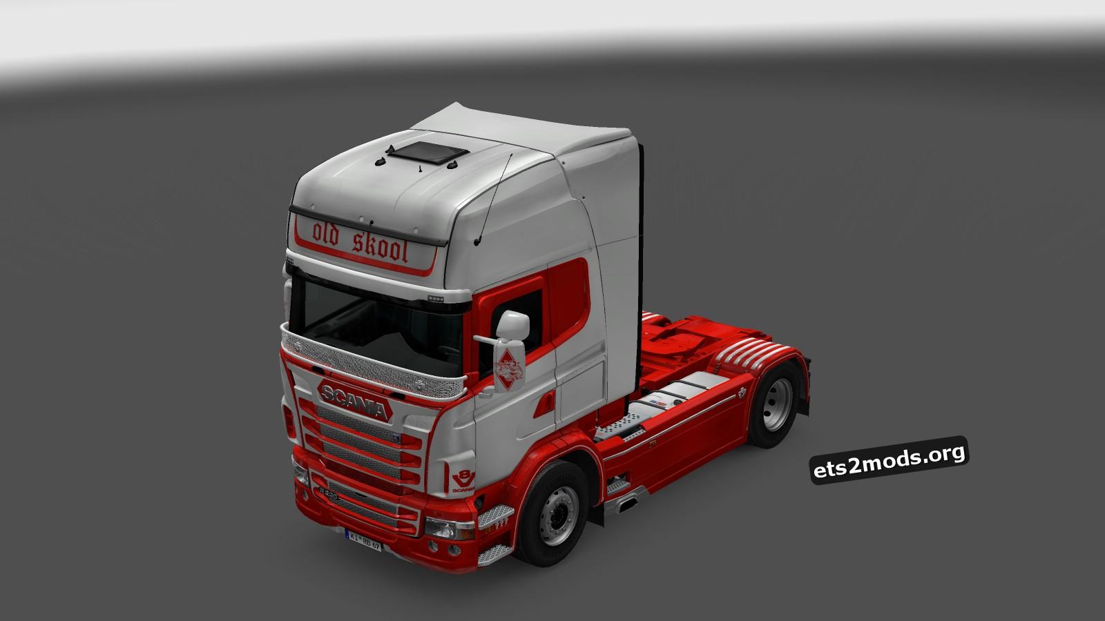 Red & White V8 Skin for Scania RJL