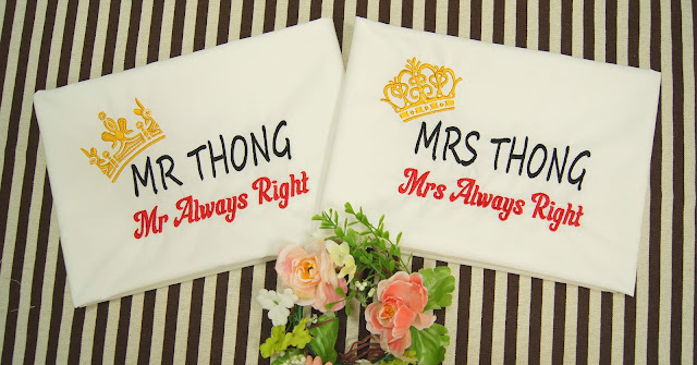 Emrboidery of Mr and mrs Always right on pillow case