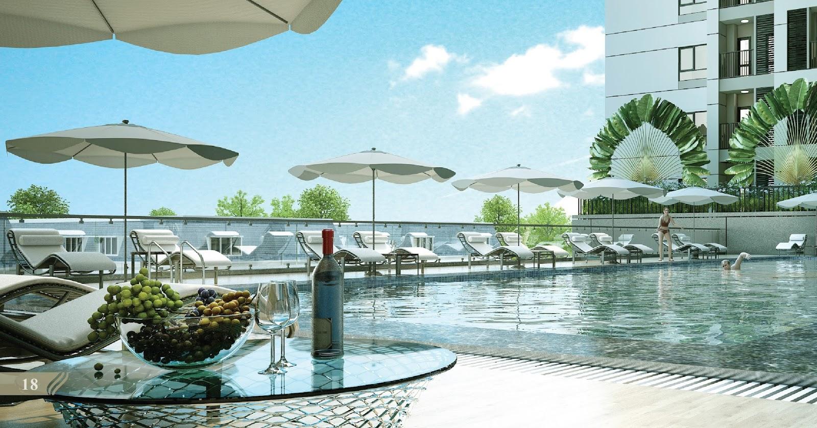 Bể bơi ngoài trời trên cao tại chung cư Red River View