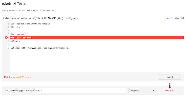 Robots.txt blocked URL