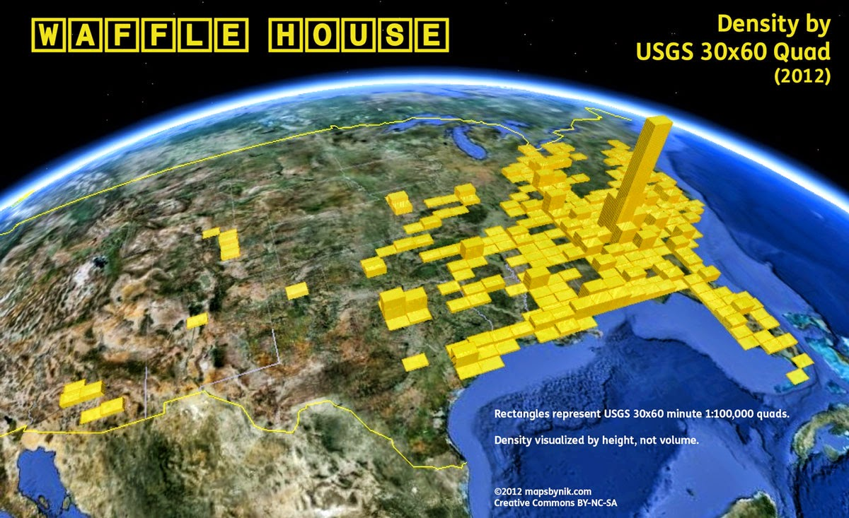 http://mapsbynik.tumblr.com/post/82053920556/waffle-house-density-by-quad-the-map-shown-here