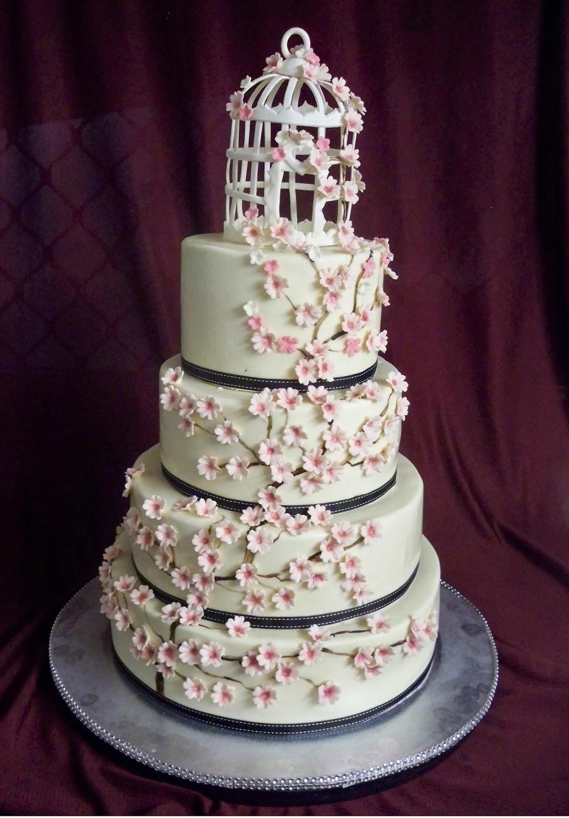 Japanese Cherry Blossom Cake With Birdcage Elisabeth S Wedding Cakes
