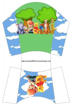 Cajita para imprimir gratis de Winnie de Pooh y sus amigos para papas o patatas fritas