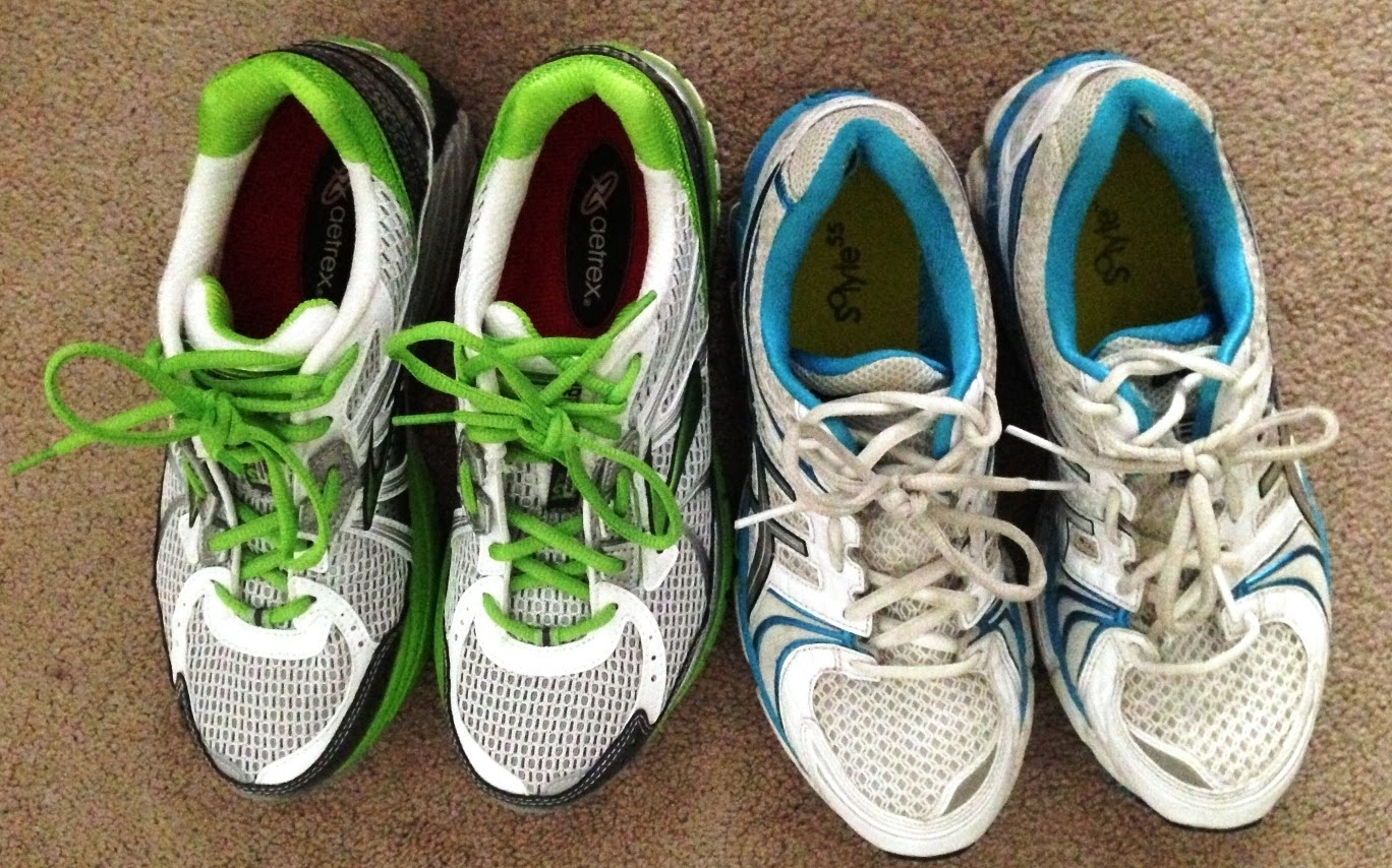 The Brooks Adrenaline beside my beloved Asics Kayano. They're all-around a  more narrow shoe.