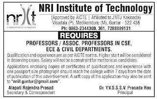 NRI Institute of Technology, Guntur, Notification 2019  ECE, CSE, Civil Professor / Associate Professor Jobs