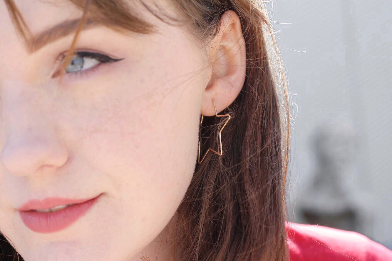 topshop gold star hoop earrings