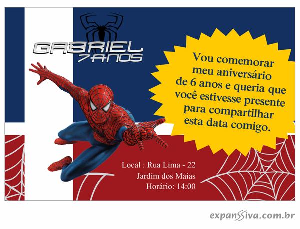 Convites de Aniversário do Homem Aranha 3
