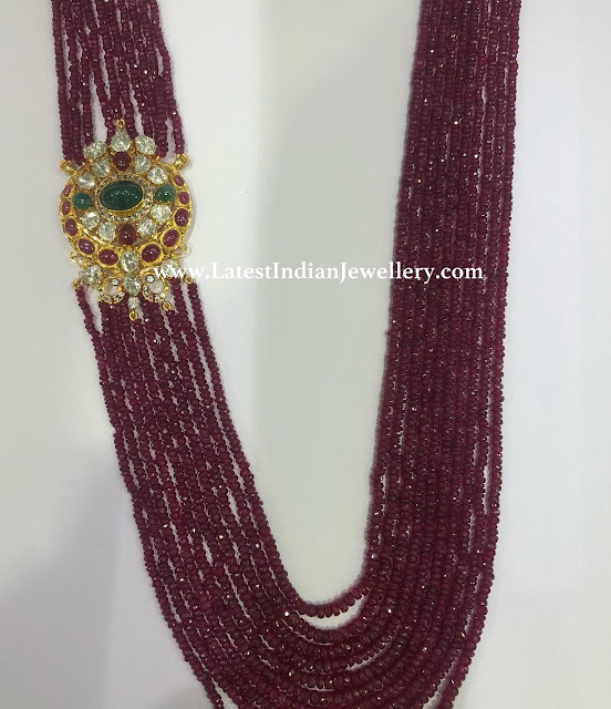 Kenya Ruby Beads Side Pendant