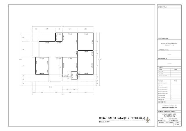 Denah Balok Latai Rumah Lantai 1