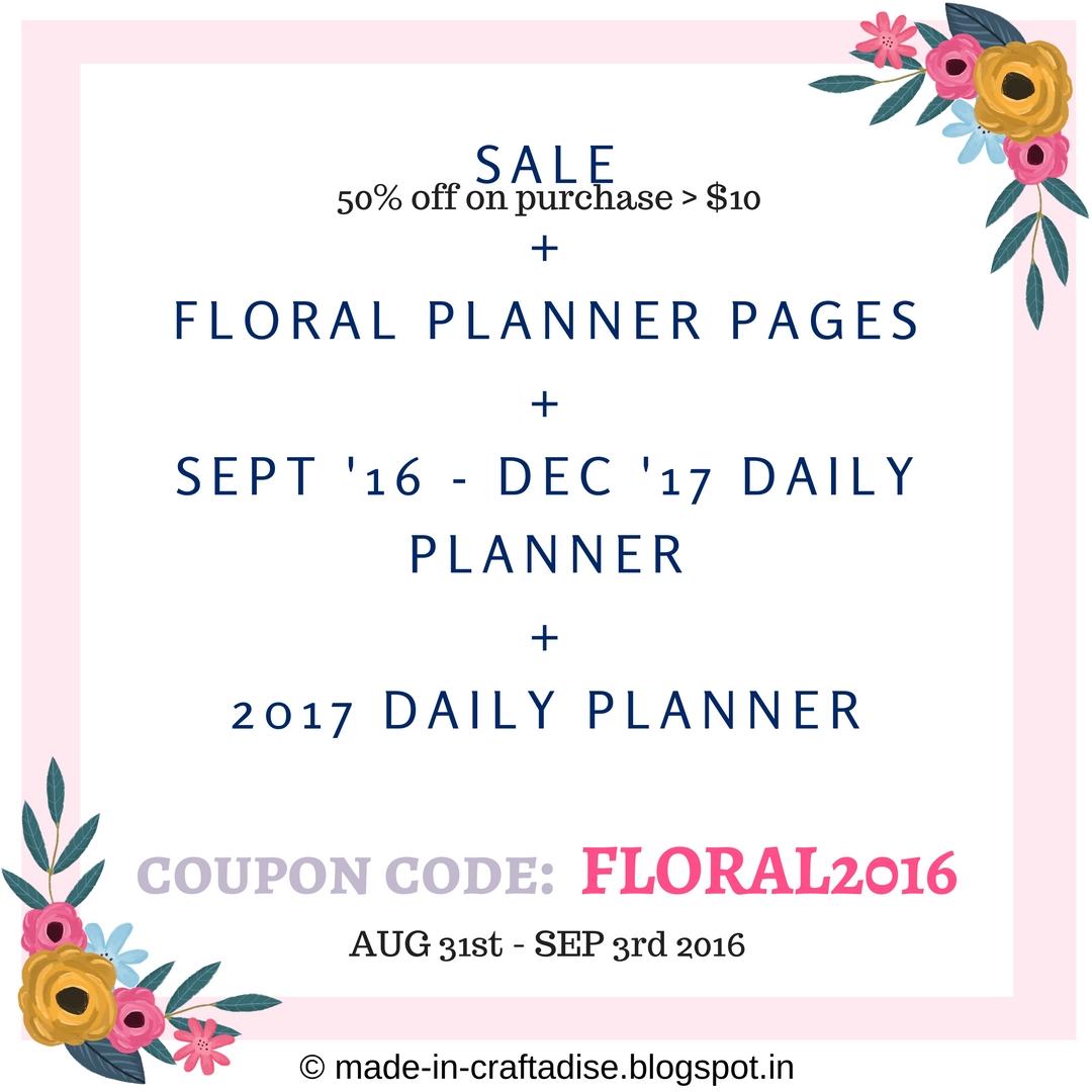 Printable planner and sale