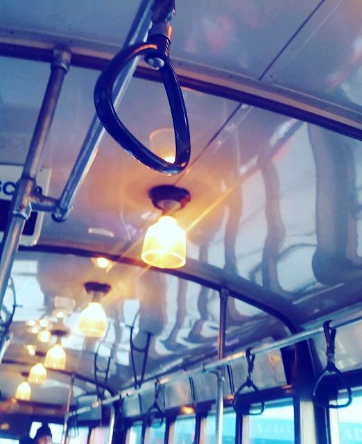 détails, vue de l'intérieur du tram