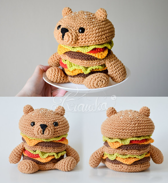 Krawka: HamBEARger tasty food crochet pattern Hamburger and Bear in one, pattern by Krawka