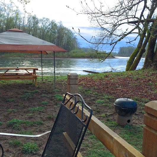 Just hanging out in a yurt on the Willamette River...