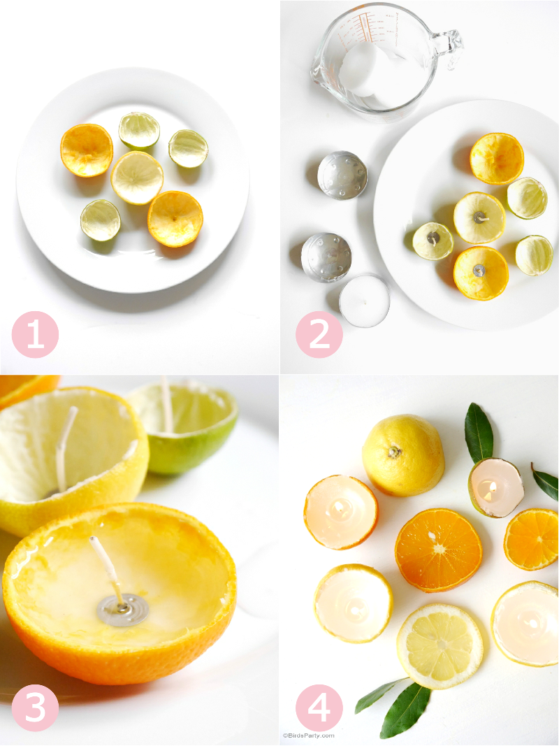 DIY Quick & Easy Citrus Candles using real fruit - BirdsParty.com
