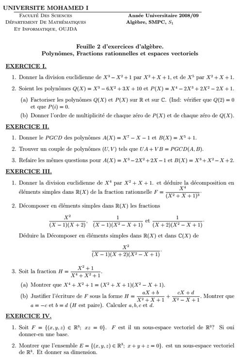 Exercices Algèbre 1: Polynomes Fractions rationnelles et espaces vectoriels FSO
