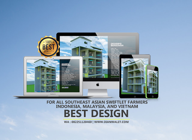 Desain Bangunan Walet 4x4 4 Lantai Premium
