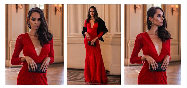 vestido festa de formatura bordado bh longo clássico atemporal  morena vermelho renda
