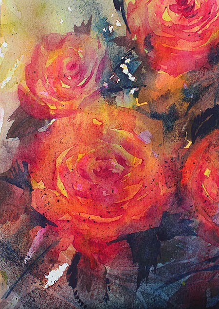 "Original watercolor ""On fire"" by Olga Peregood. Fragment"
