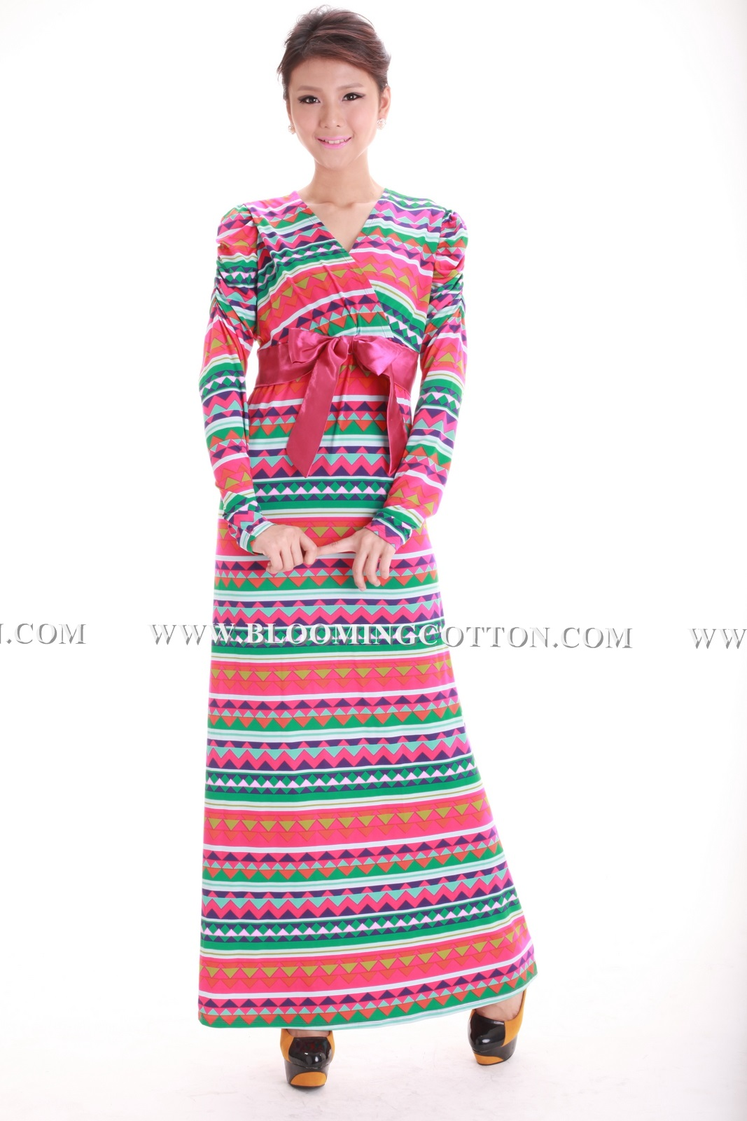 BLOOMING COTTON: Maxi (breast feed) Tribal Ribbon Code: 7320
