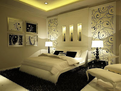 Light colors modern bedroom sets with stylish large black frieze carpet