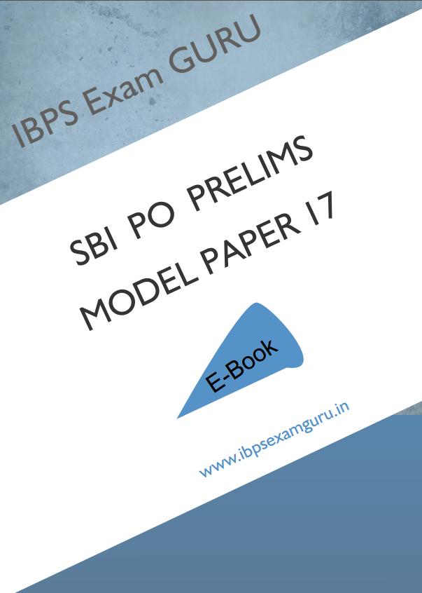 Sbi Po Preliminary Exam Model Paper - Pdf